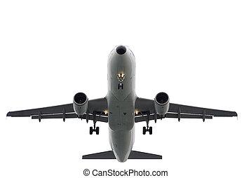 Aeroplane isolated - Plane landing or flying away....