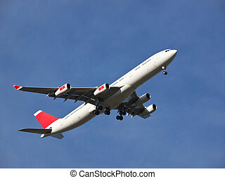 aeroplane landing on the airport