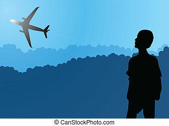 Aeroplane on blue and cloudy sky.