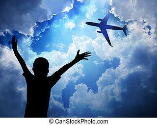 Aeroplane on blue sky background