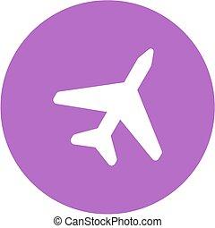 AeroPlane - Plane, fly, aircraft icon vector image. Can also...