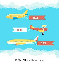 Aeroplane, planes and biplane. Set of colorful flat airplanes with cloud.