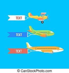 Aeroplane, planes and biplane. Set of colorful flat...