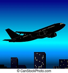 Aeroplane Silhouette 03 - High detailed and coloured...