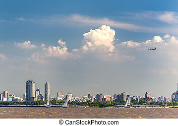 Aeroplane taking off, Buenos Aires City view from the Rio de...
