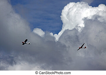 Aeroplane towing a glider