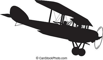 Aeroplane - Vintage biplane vector silhouette
