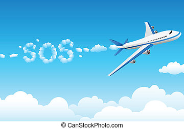 aeroplane with cloudy sos - illustration of aeroplane with...