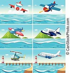 aeroplanerne, og, helicoptere, hen, den, havet