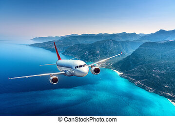 aeroplano, è, volando, isole, e, mare, a, alba, in, estate