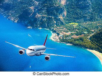 aeroplano, è, volando, isole, e, mare, a, alba, in, summer.