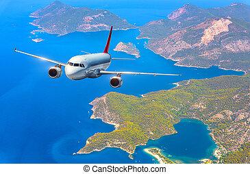 aeroplano, è, volando, strabiliante, isole, e, mare mediterraneo