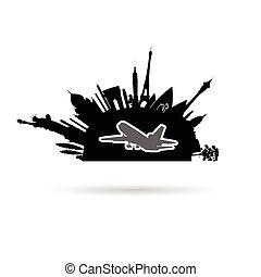 aeroplano, antico, illustrazione, monumento