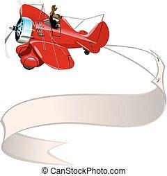 aeroplano, bandiera, cartone animato, retro