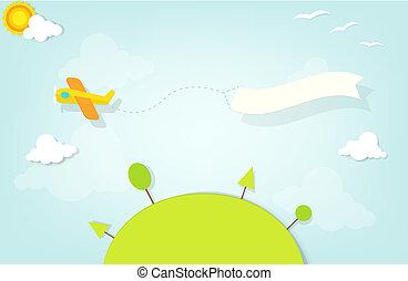 aeroplano, bandiera, pubblicità