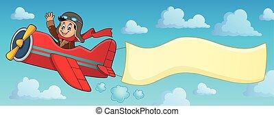 aeroplano, bandiera, retro