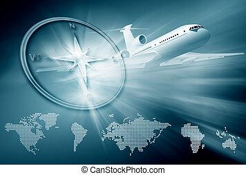 aeroplano, bussola, continente, mappe, su, sfondo blu