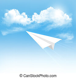 aeroplano carta, in, il, cielo, con, clouds., vector.