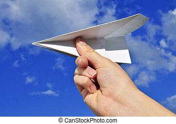 aeroplano, carta, tenendo mano