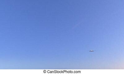 aeroplano commerciale, arrivare, a, brampton, aeroporto.,...