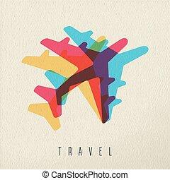 aeroplano, concetto, colorito, viaggiare, fondo