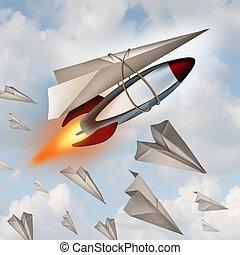 aeroplano de papel, concepto