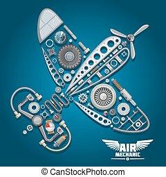 aeroplano elica, disegno, meccanico, aria