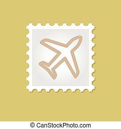 aeroplano, francobollo, vettore