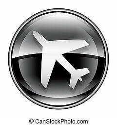 aeroplano, icona, nero, isolato, bianco, fondo.