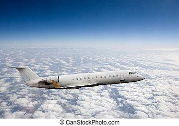 aeroplano, in, cielo