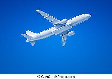 aeroplano, in, il, cielo blu