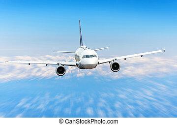 aeroplano, in, il, cielo, nubi, volo, viaggio, sole, altezza, velocità, movimento, blur., passeggero, commerciale, aircraft.
