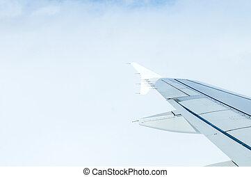 aeroplano, in, nubi, sopra, terra