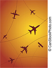 aeroplano, itinerari, a, tramonto