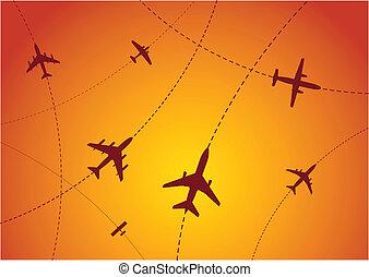 aeroplano, itinerari, tramonto