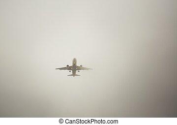 aeroplano, nebbia, spesso