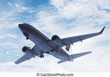 aeroplano, presa, via., uno, grande, passeggero, o, aereo carico, linea aerea, flying., trasporto