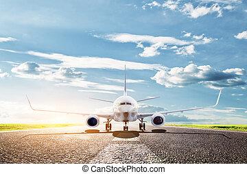 aeroplano, pronto, prendere, via., aereo passeggero, airline., trasporto, viaggiare