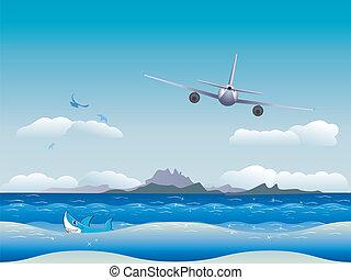 aeroplano, sopra, mare