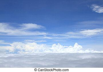 aeroplano, sopra, nubi