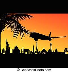 aeroplano, storico, illustrazione, monumento