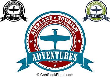 aeroplano, turismo, emblemi