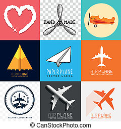 aeroplano, vettore, collezione