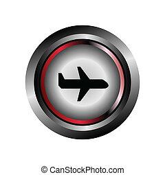 aeroplano, vettore, segno, rotondo, icona