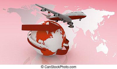 aeroplano, viaggi, passeggero, intorno