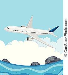 aeroplano, volando, mare