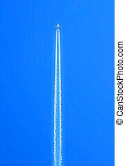 aeroplano, volare, a, altitudine alta, abbandono, relativo, bianco, scia, sopra, cielo blu