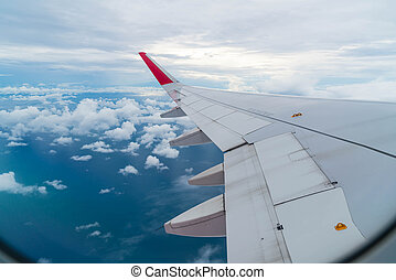 aeroplano, volare, sopra, nubi