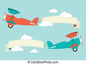 aeroplanos, nuvens