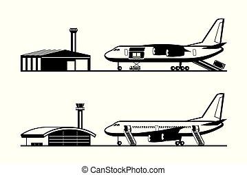 aeroporto, aeroplano carico, passeggero